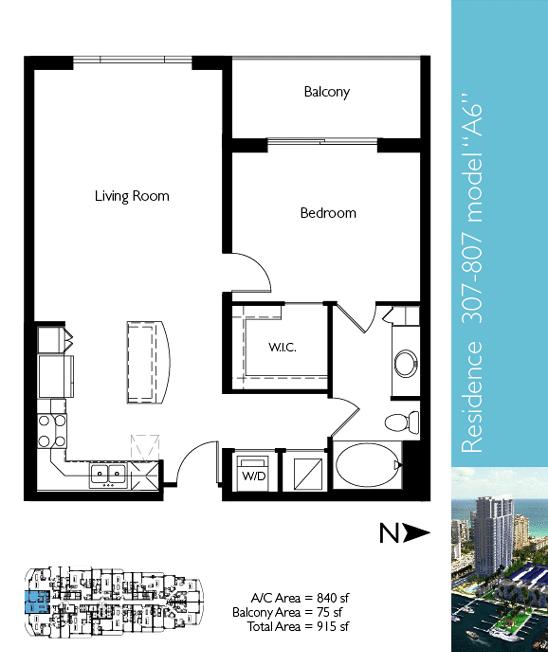 Floor plan image A6 - 1/1  - 840 sqft image
