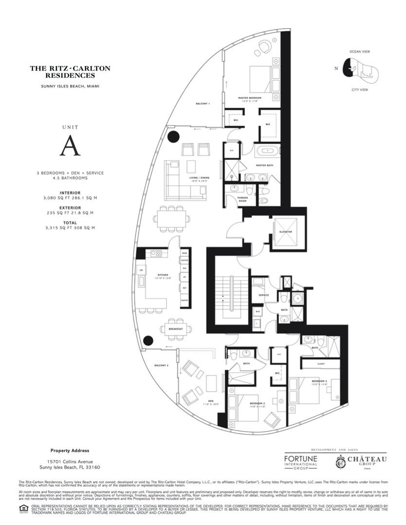 Floor plan image A - 3 BEDROOMS + DEN + SERVICE 4.5 BATHROOMS  - 3315 sqft image
