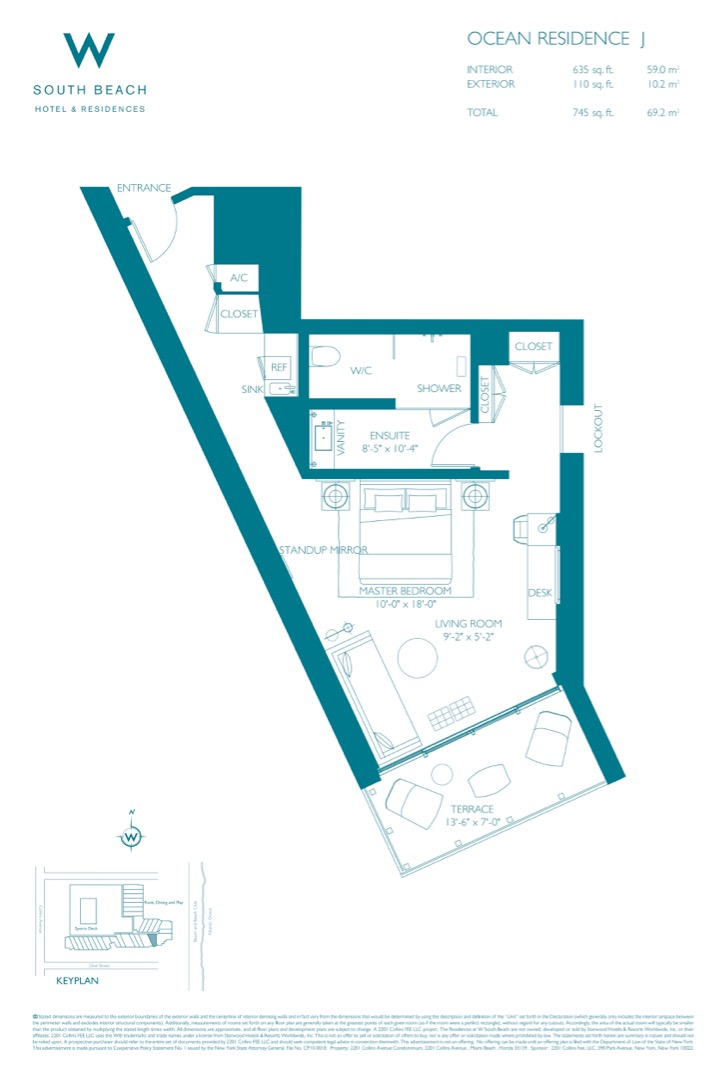 Floor plan image W South Beach J - Studio  - 745 sqft image