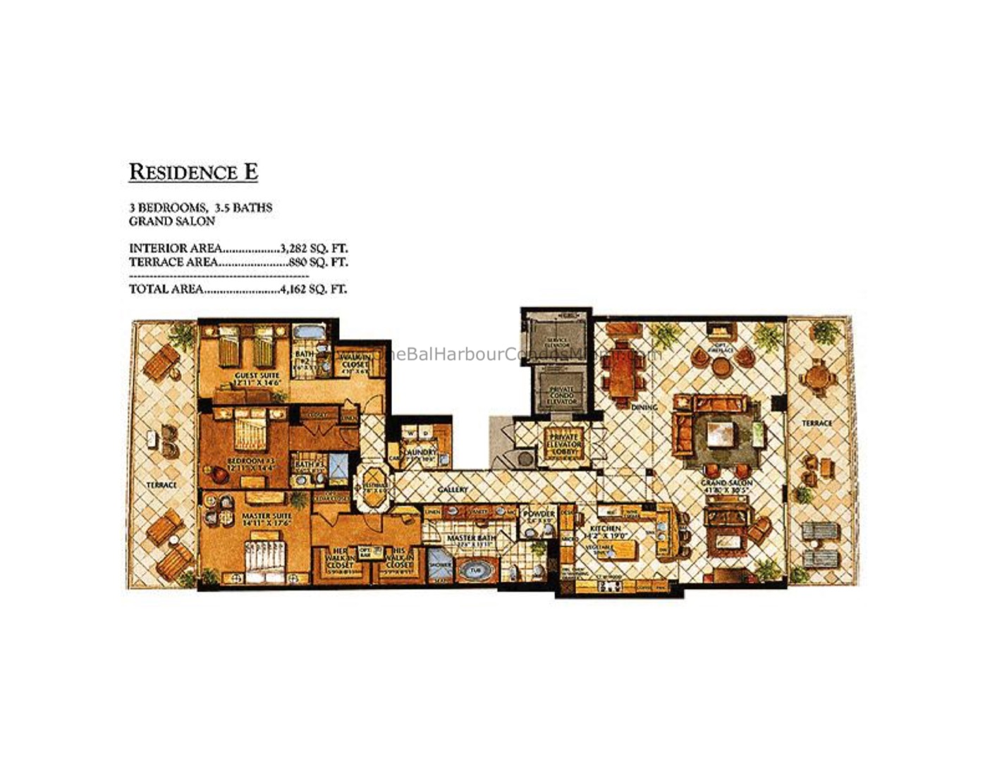 Floor plan image E - 3/3/1  - 3282 sqft image