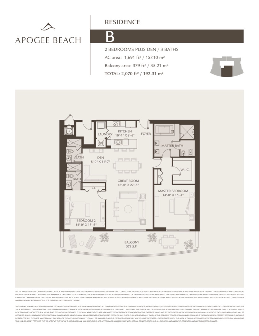 Floor plan image B - 2/3+Den  - 1690 sqft image