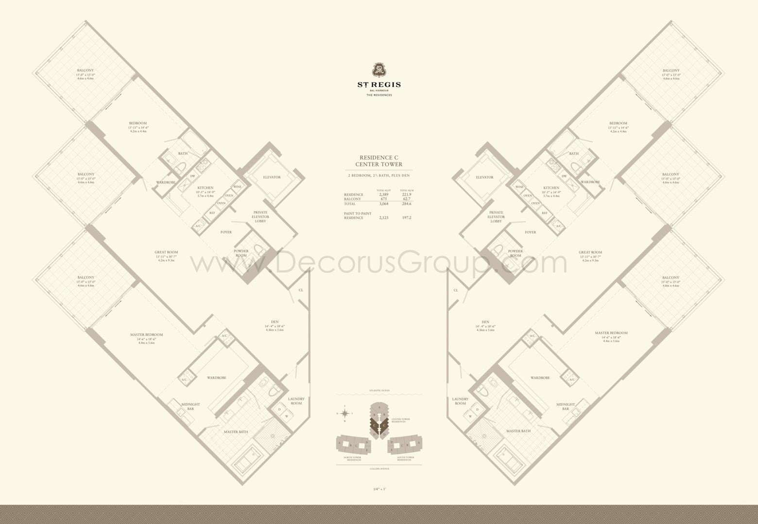 Floor plan image C - 2/2.5 + Den  - 3064 sqft image