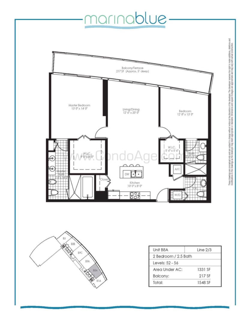 Floor plan image B8A - 2/2/1  - 1331 sqft image