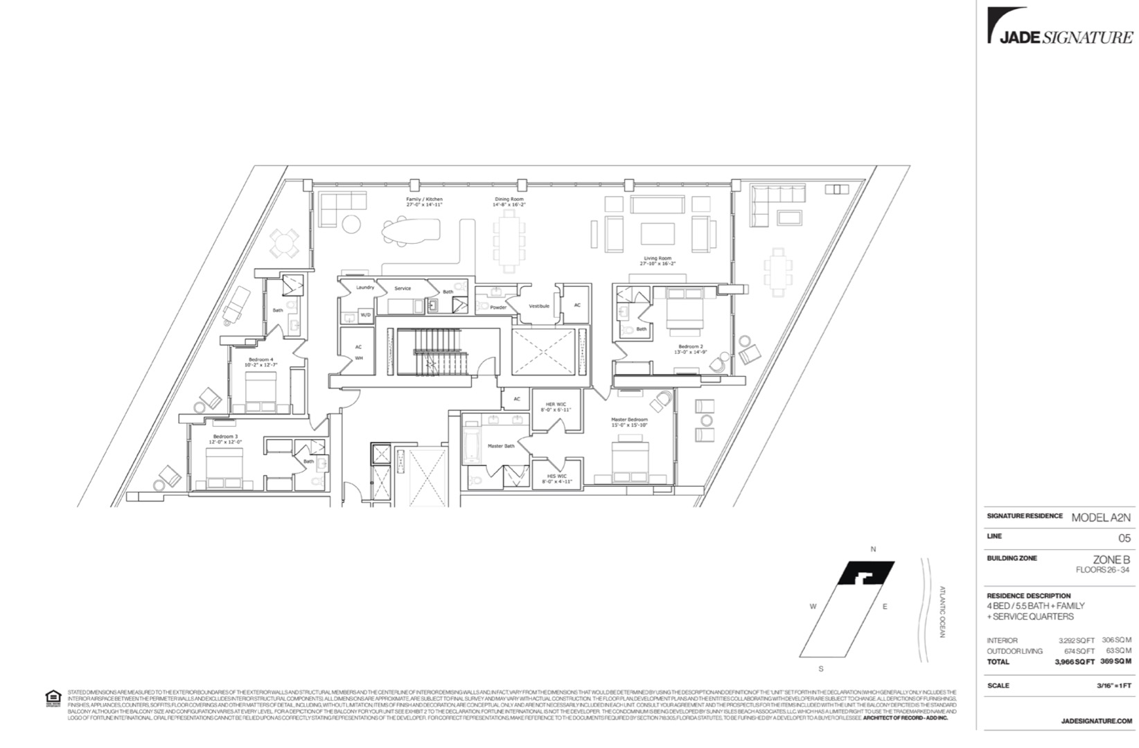 Floor plan image A2N - 4/5.5/Family Room/ServiceQuarters  - 3292 sqft image