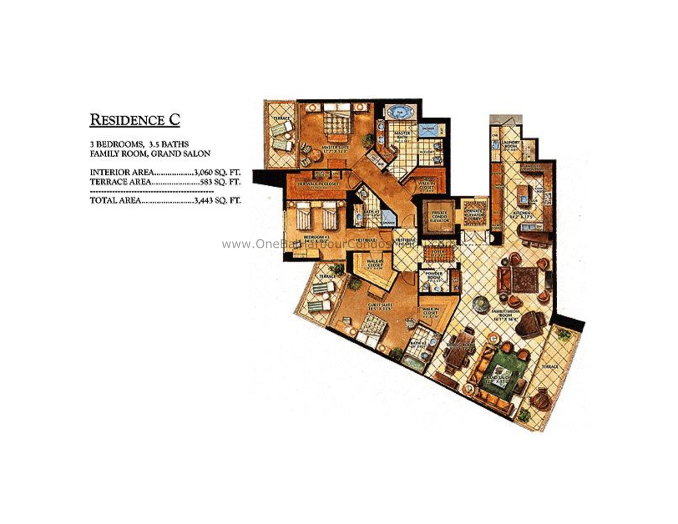Floor plan image C - 3/3/1  - 3060 sqft image