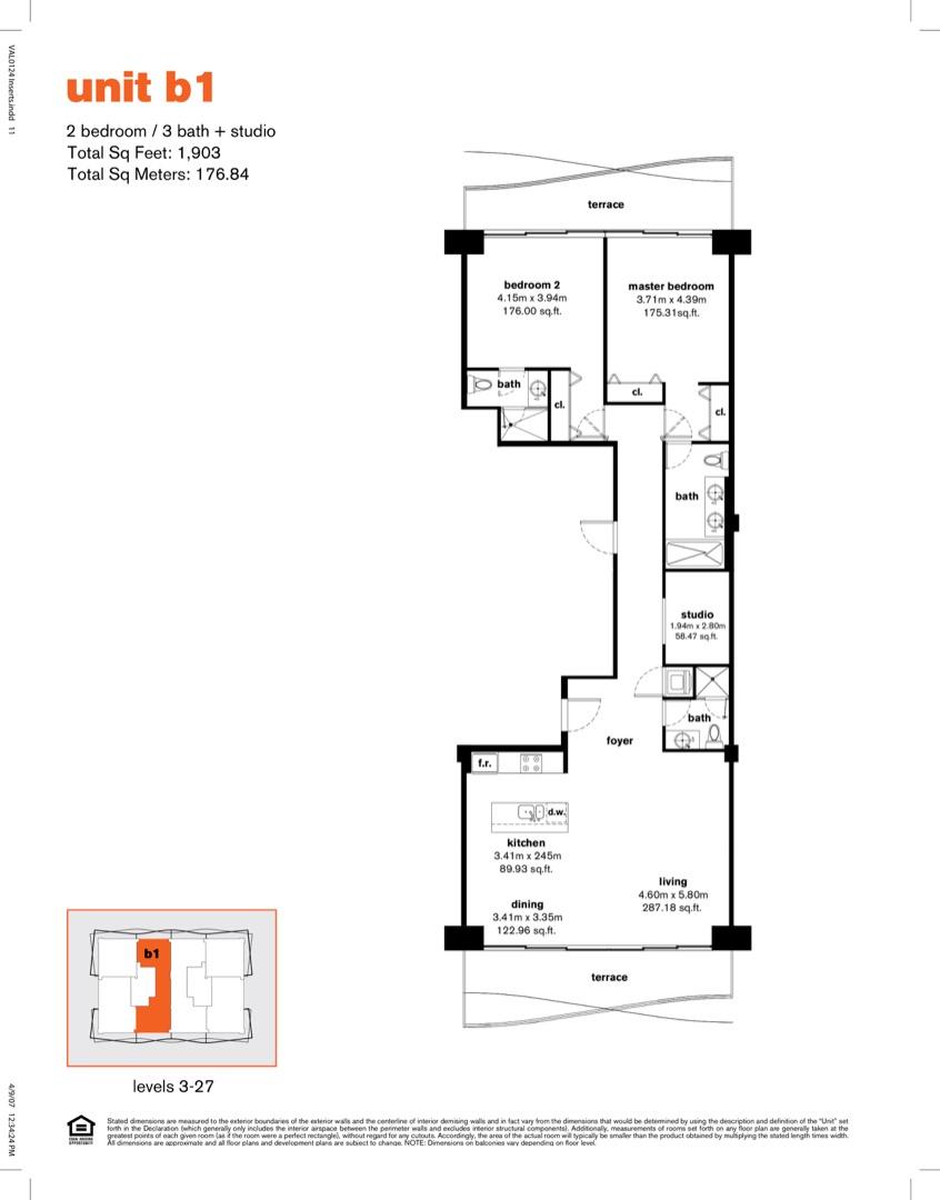 Floor plan image B1r - 2/3/Den  - 1903 sqft image
