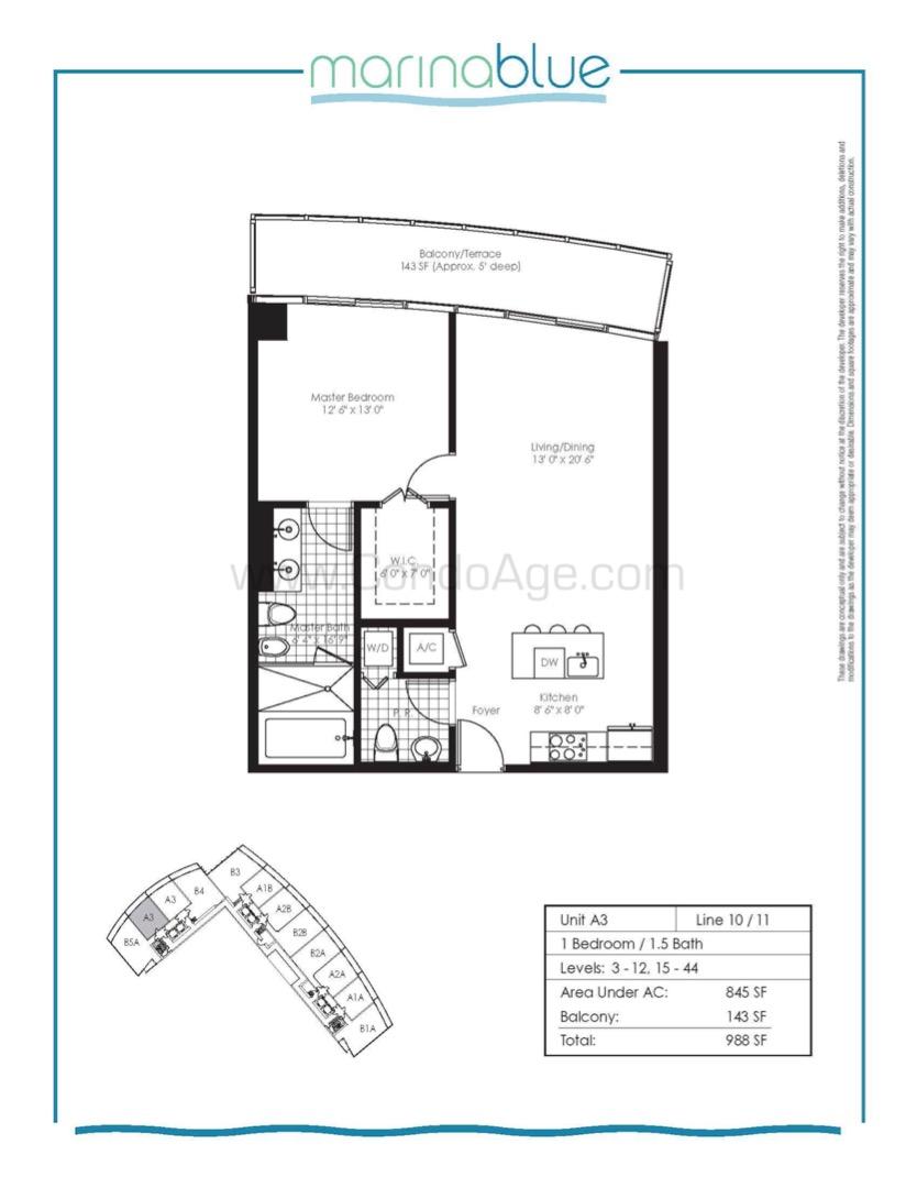 Floor plan image A3 - 1/1/1  - 845 sqft image