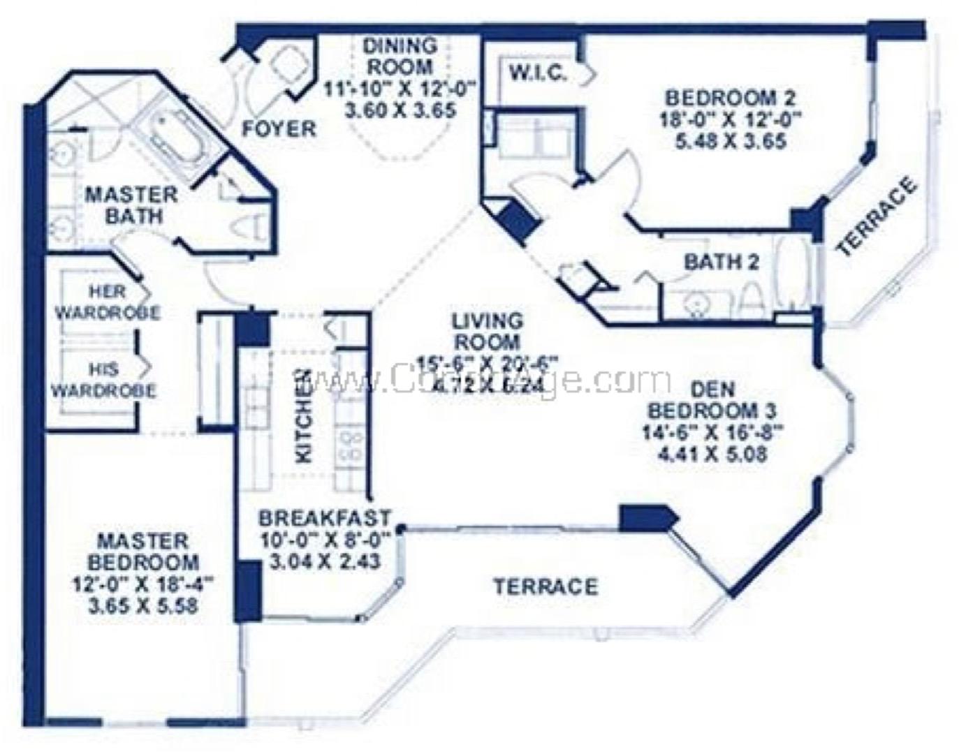 Floor plan image L - 2/2/Den  - 1865 sqft image