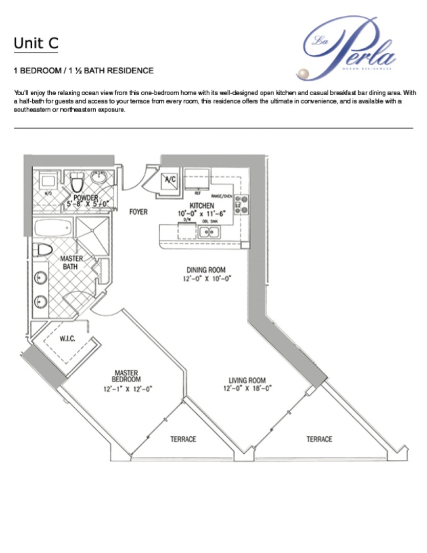 Floor plan image C - 1/1.5  - 1000 sqft image