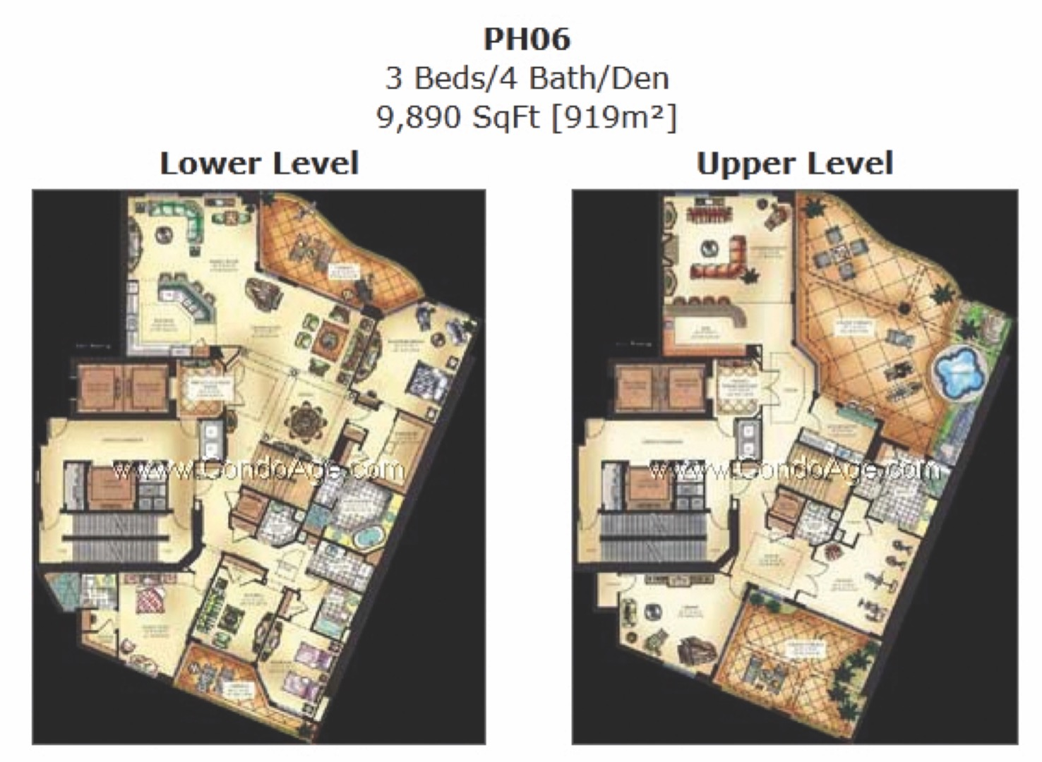 Floor plan image PH06 - 3/4+Den  - 9890 sqft image