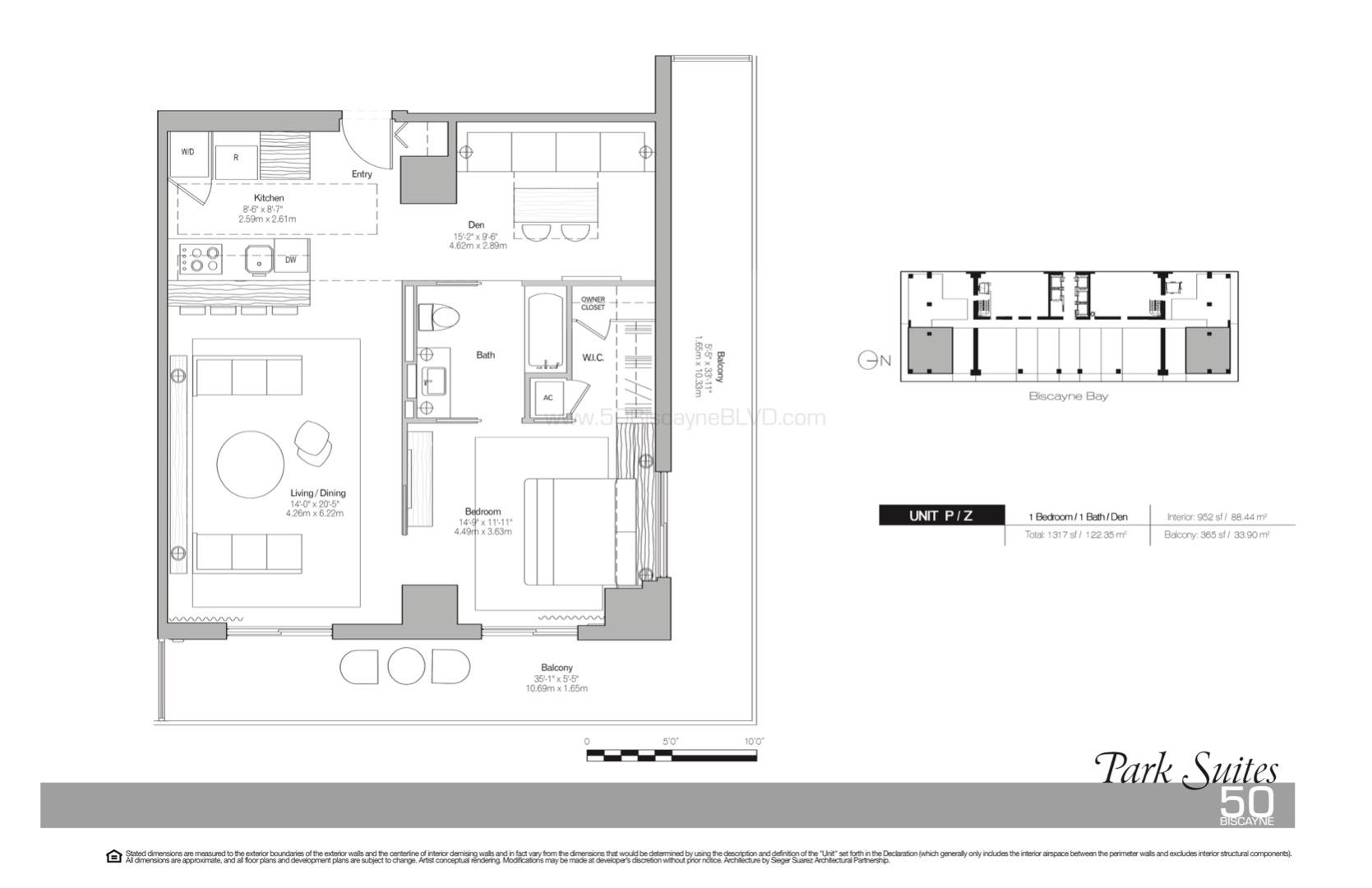 Floor plan image Park Suites P-Z - 1/1/Den  - 952 sqft image