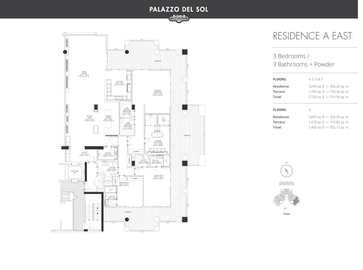 Floor plan image A East 3-7 - 3/3  - 3835 sqft image