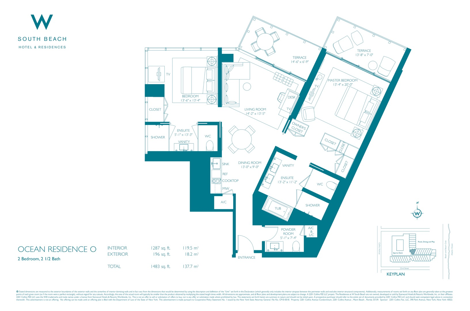 Floor plan image W South Beach O - 2/2/1  - 1483 sqft image