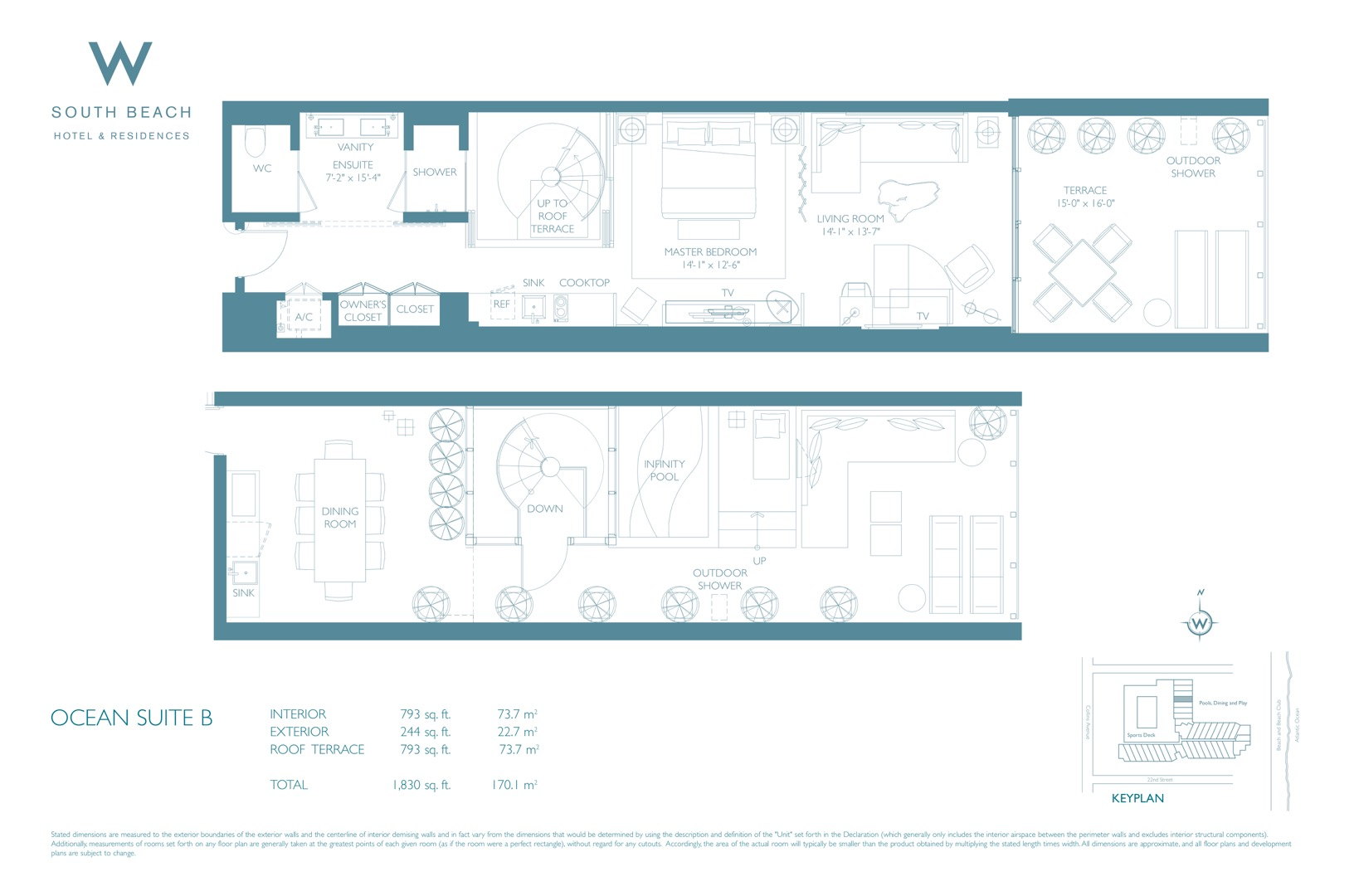 Floor plan image W South Beach B - 1/1  - 1037 sqft image
