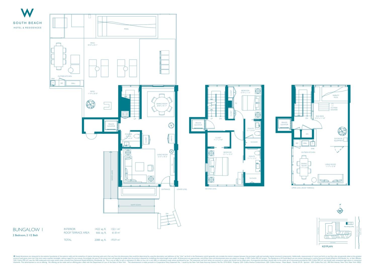 Floor plan image Bungalow 1 - 2/2/1  - 2088 sqft image