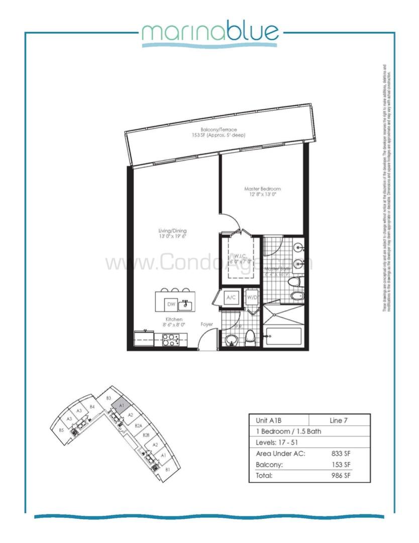 Floor plan image A1B - 1/1/1  - 833 sqft image