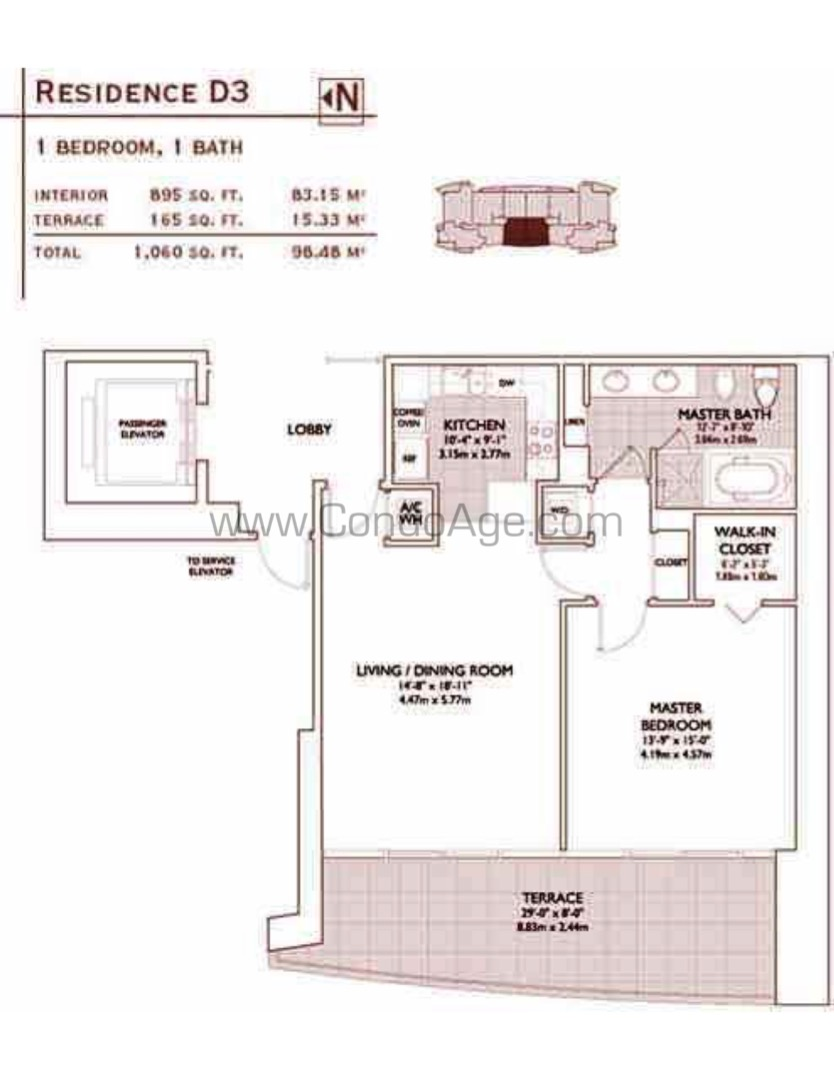 Floor plan image D3 - 1/1  - 895 sqft image
