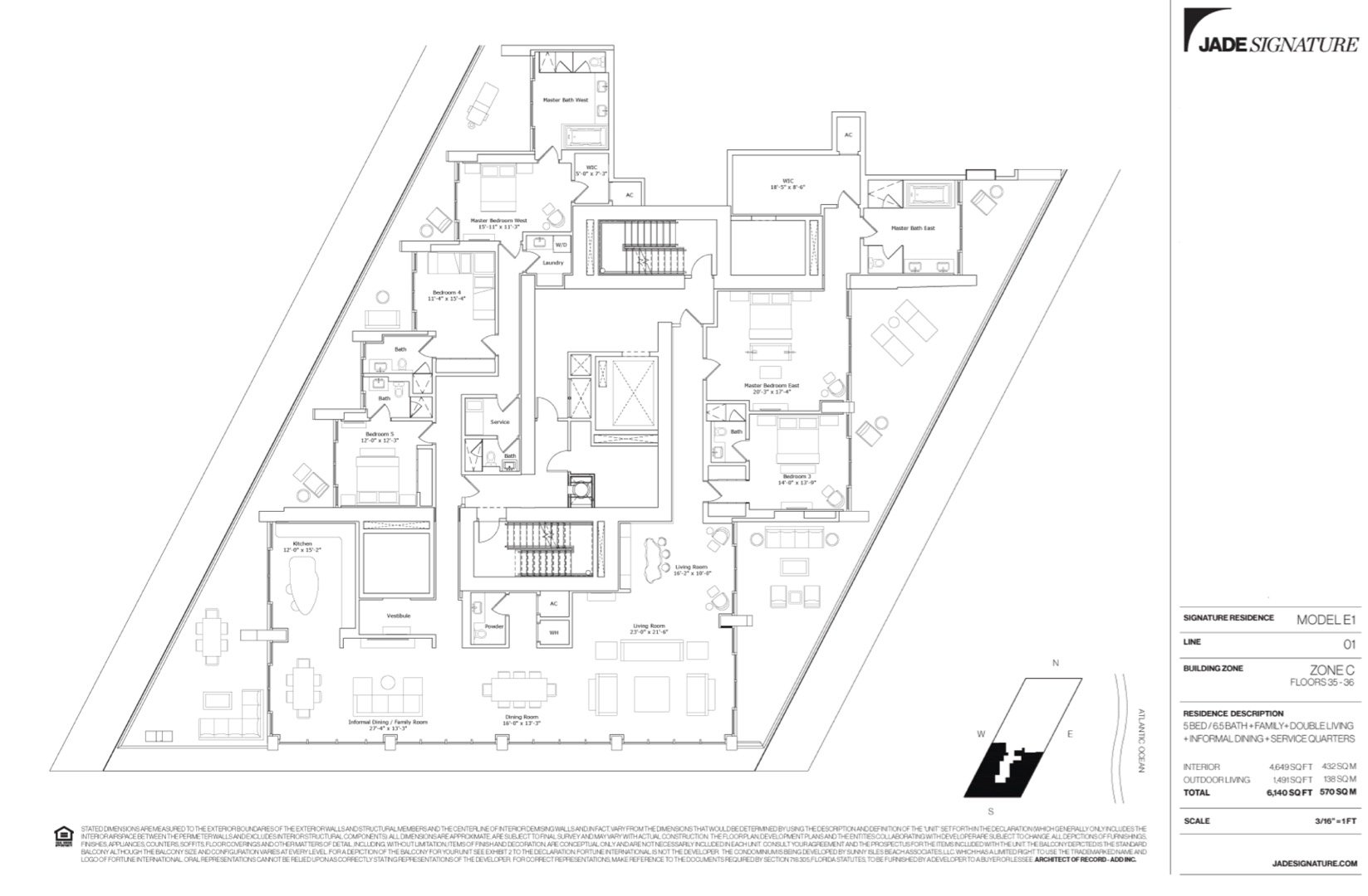 Floor plan image E1 - 5/6.5/Family/DoubleLiving/InformalDining/Service  - 4649 sqft image