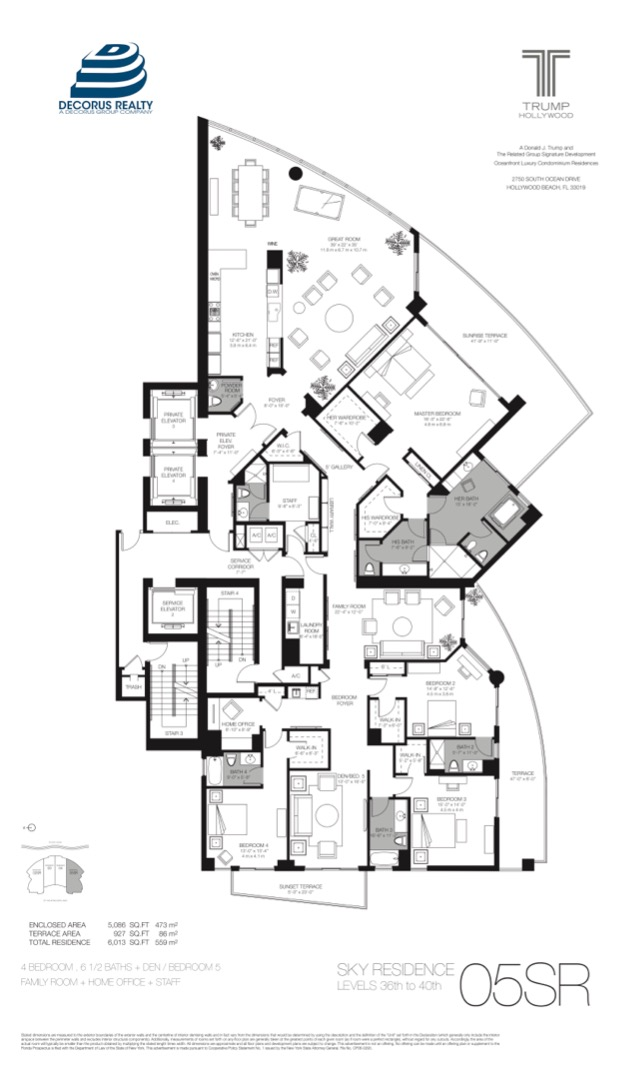 Floor plan image Sky Residences 02 & 05 - 4/6/1+Den+Family Room+Office+Staff  - 5086 sqft image