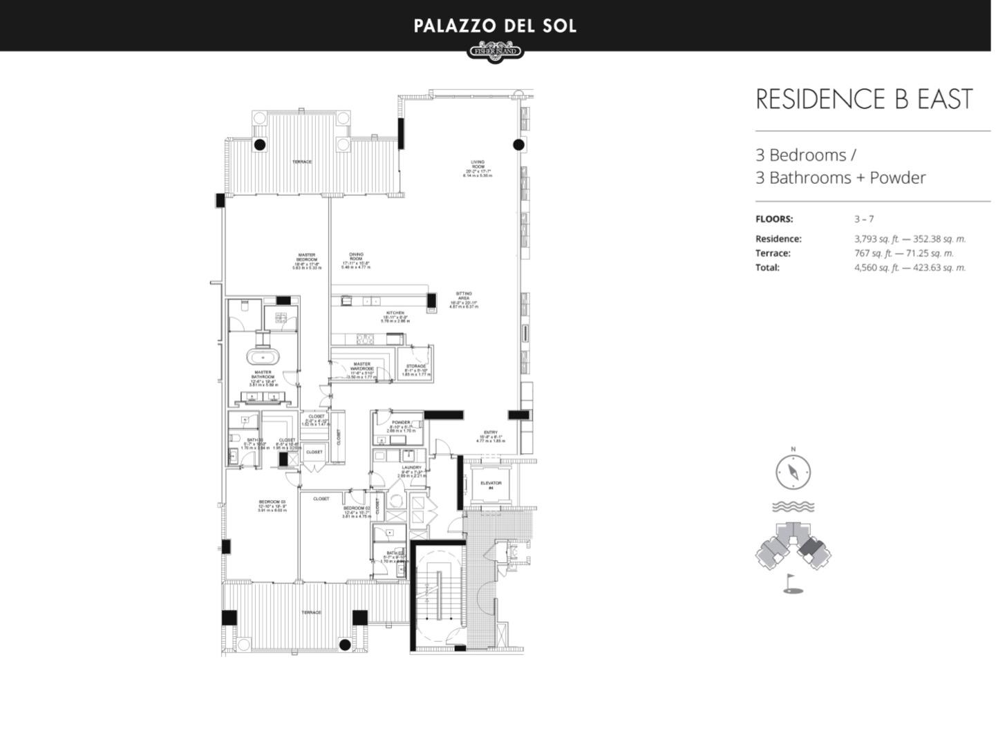 Floor plan image B East 3-7 - 3/3  - 3793 sqft image