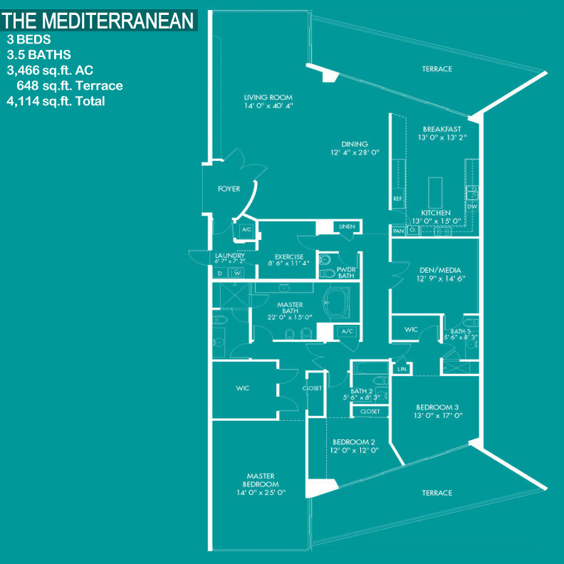 Floor plan image The Mediterranean - 3/3/1  - 4114 sqft image
