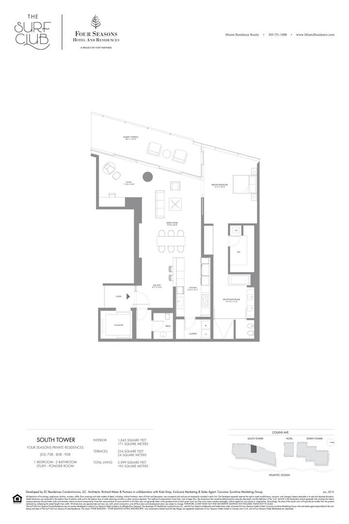 Floor plan image D3 - 2/2/STUDY/POWDER ROOM  - 2099 sqft image