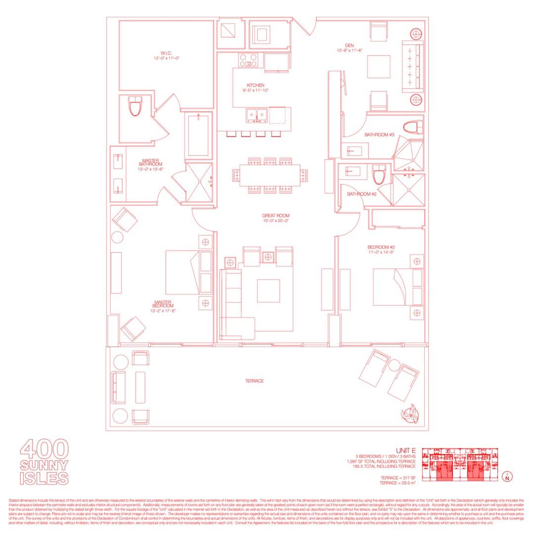 Floor plan image 03 - 2 Beds + Den / 3 Baths  - 1997 sqft image