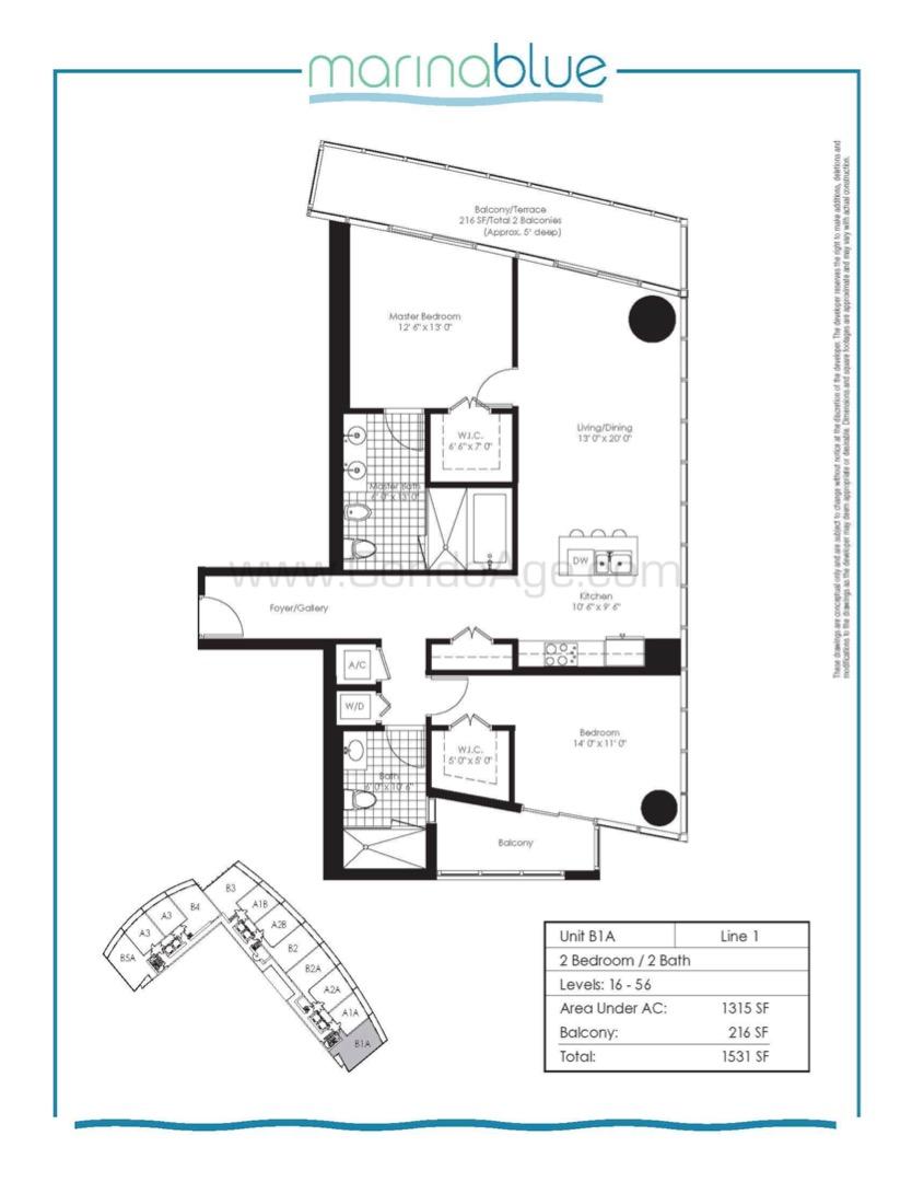Floor plan image B1A - 2/2  - 1315 sqft image