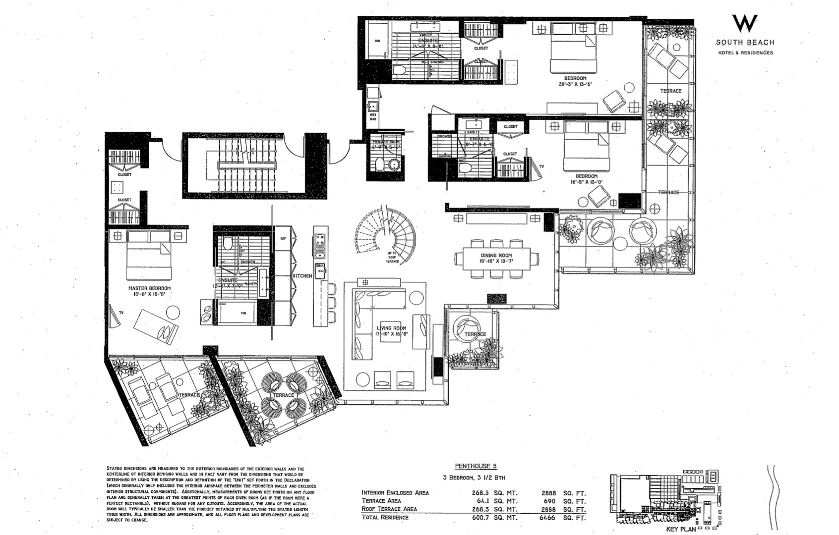 Floor plan image W South Beach Penthouse 5 - 2/2/1  - 6466 sqft image