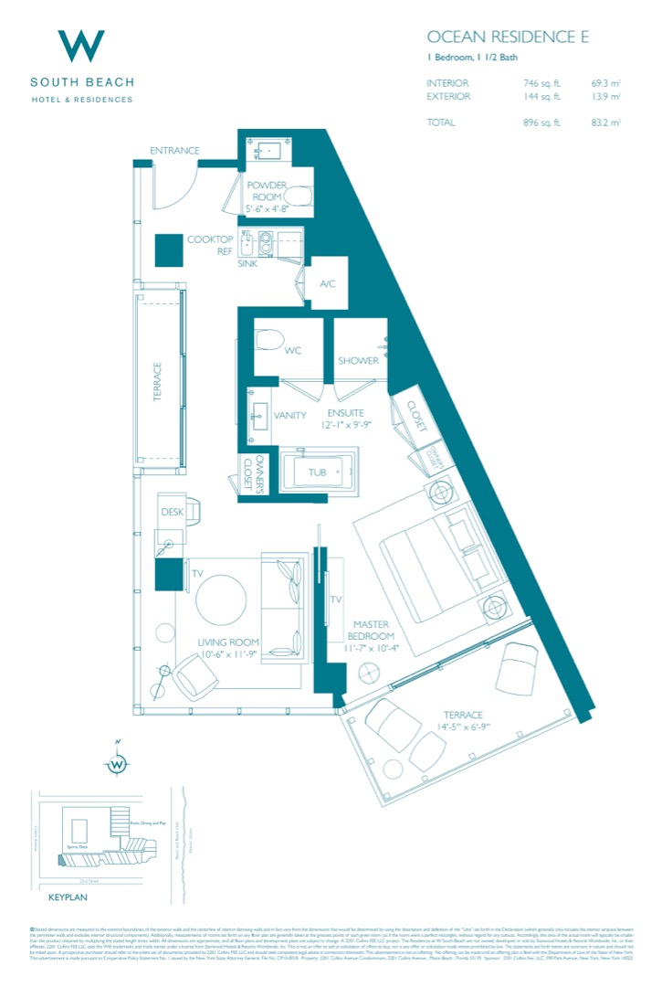 Floor plan image W South Beach E - 1/1/1  - 896 sqft image
