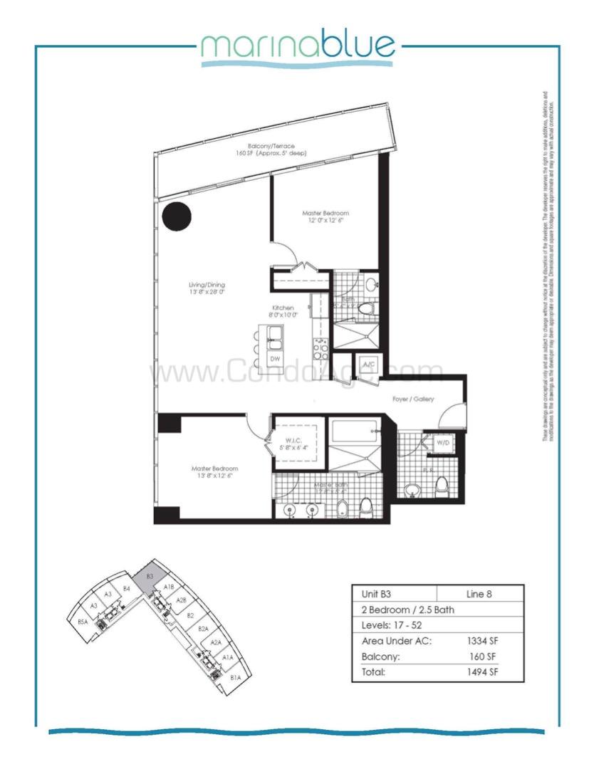 Floor plan image B3 - 2/2/1  - 1334 sqft image