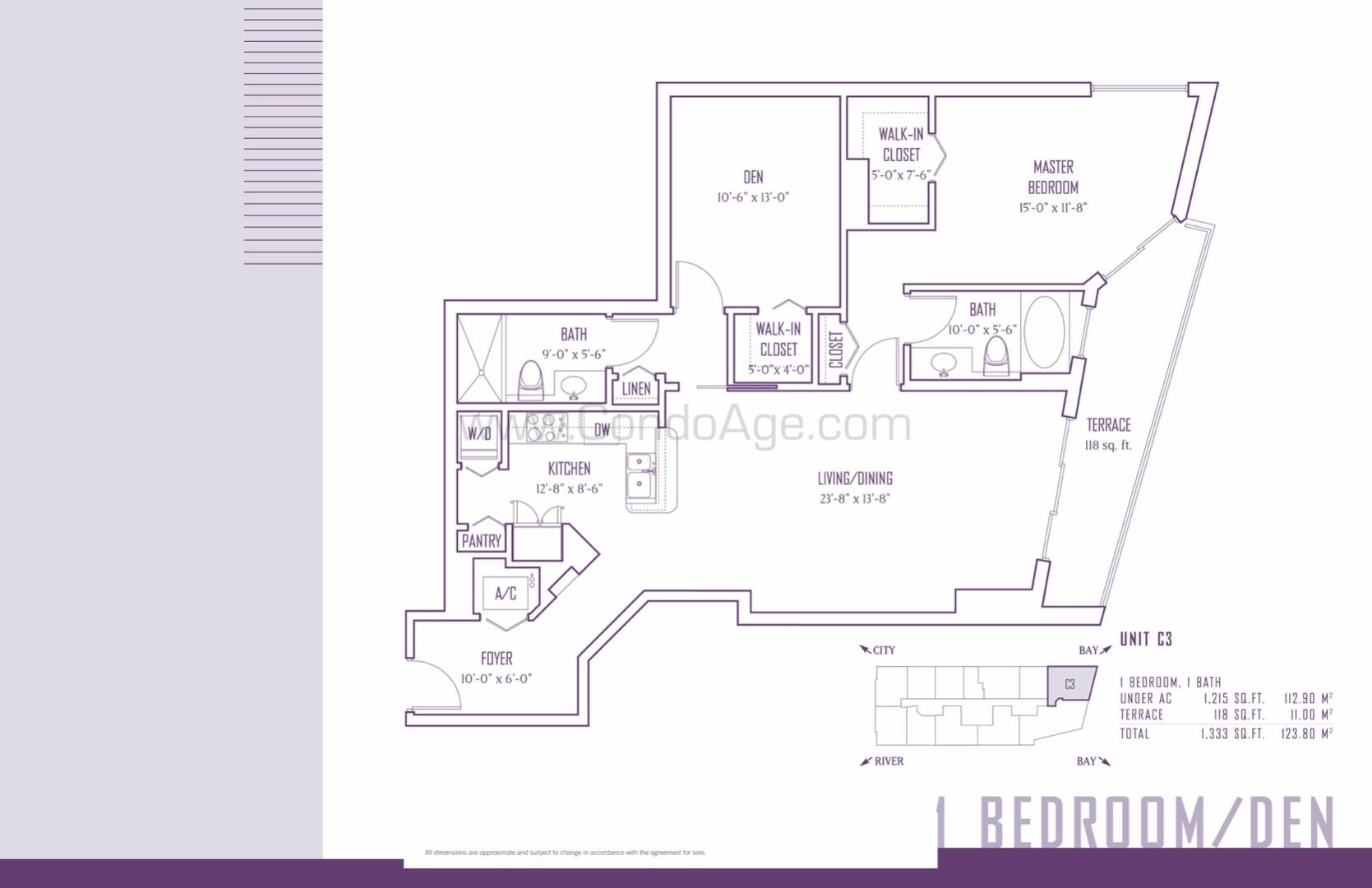 Floor plan image C3 - 1+ Den / 2  - 1215 sqft image