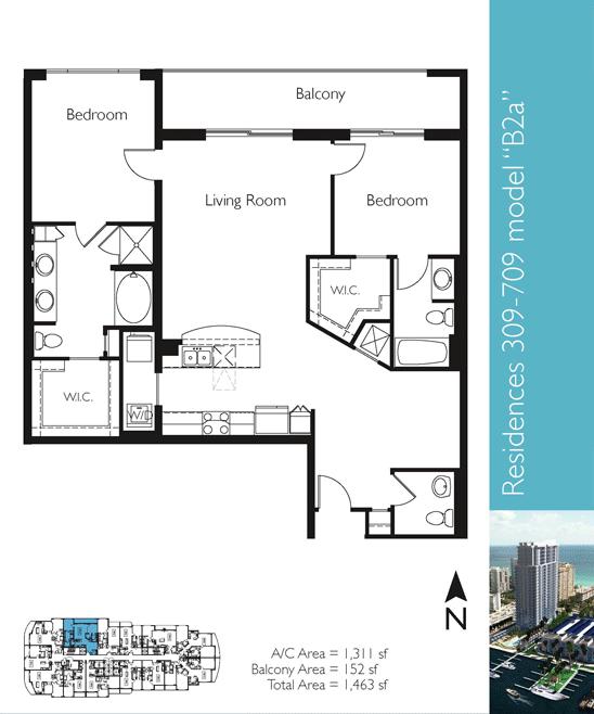 Floor plan image B2a - 2/2/1  - 1311 sqft image