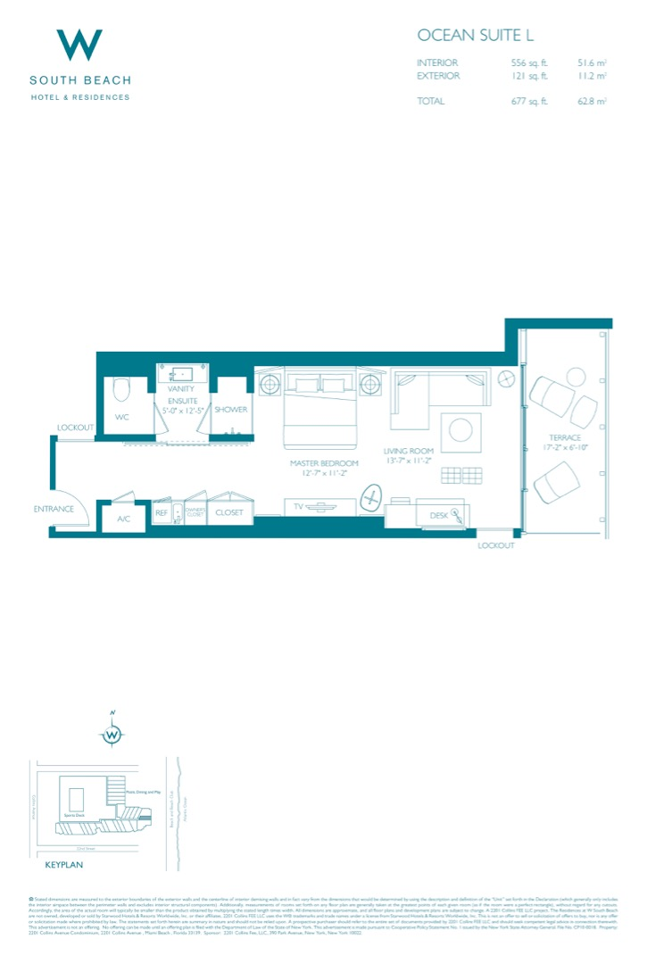 Floor plan image W South Beach L - 1/1  - 677 sqft image