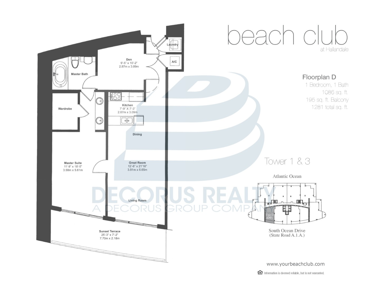 Floor plan image 06-09 - 1+Den/1  - 1086 sqft image