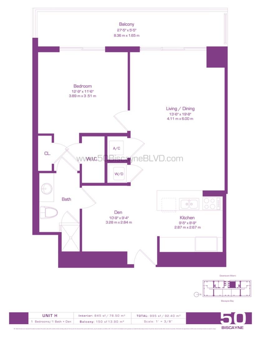 Floor plan image H - 1/1/Den  - 845 sqft image