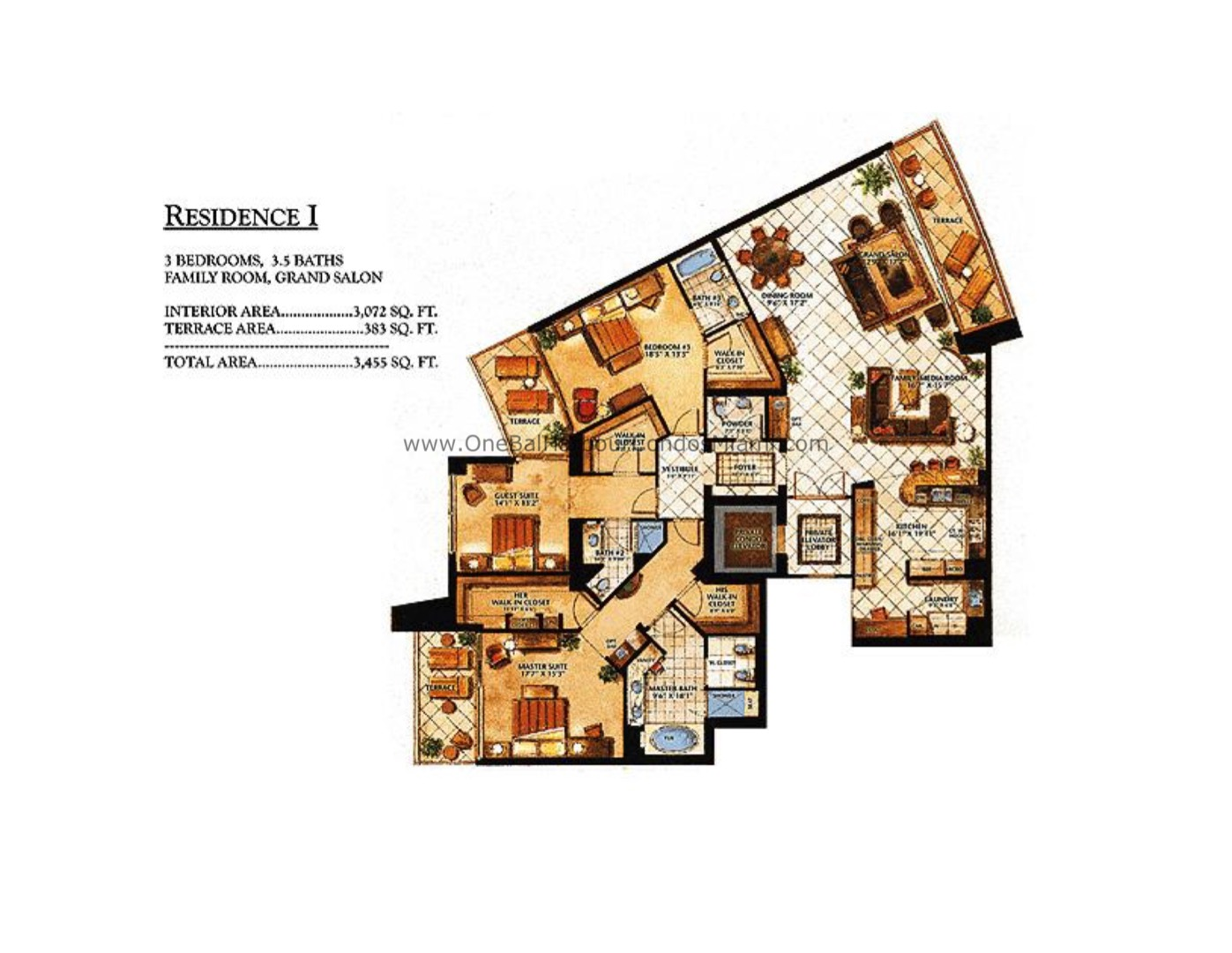 Floor plan image I - 3/3/1  - 3072 sqft image
