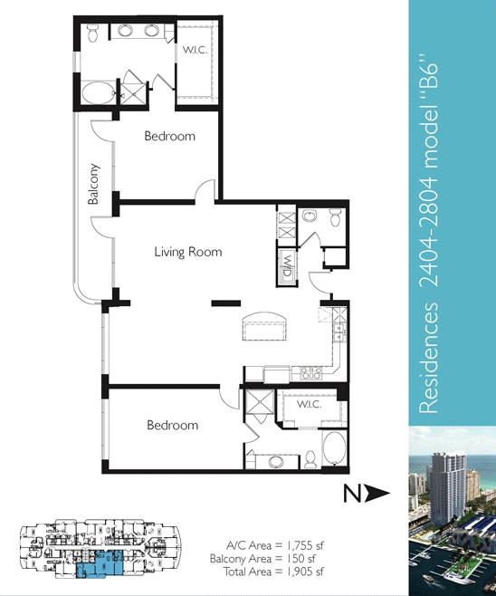 Floor plan image B6 - 2/2/1  - 1755 sqft image