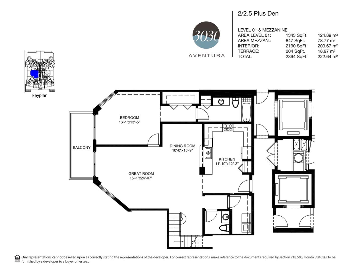 Floor plan image 06 - 2 + Den / 2.5  - 2394 sqft image