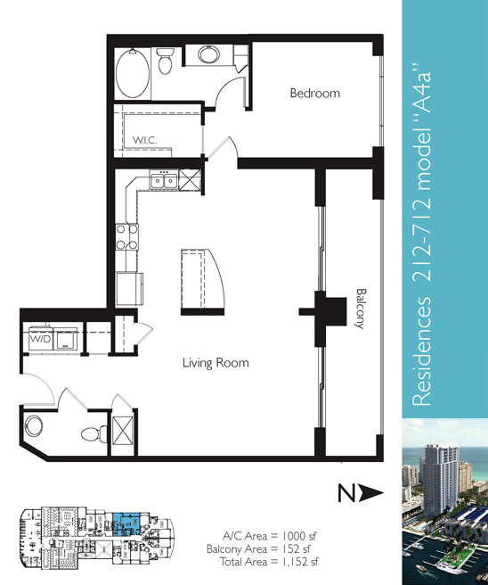 Floor plan image A4a - 1/1/1  - 1000 sqft image