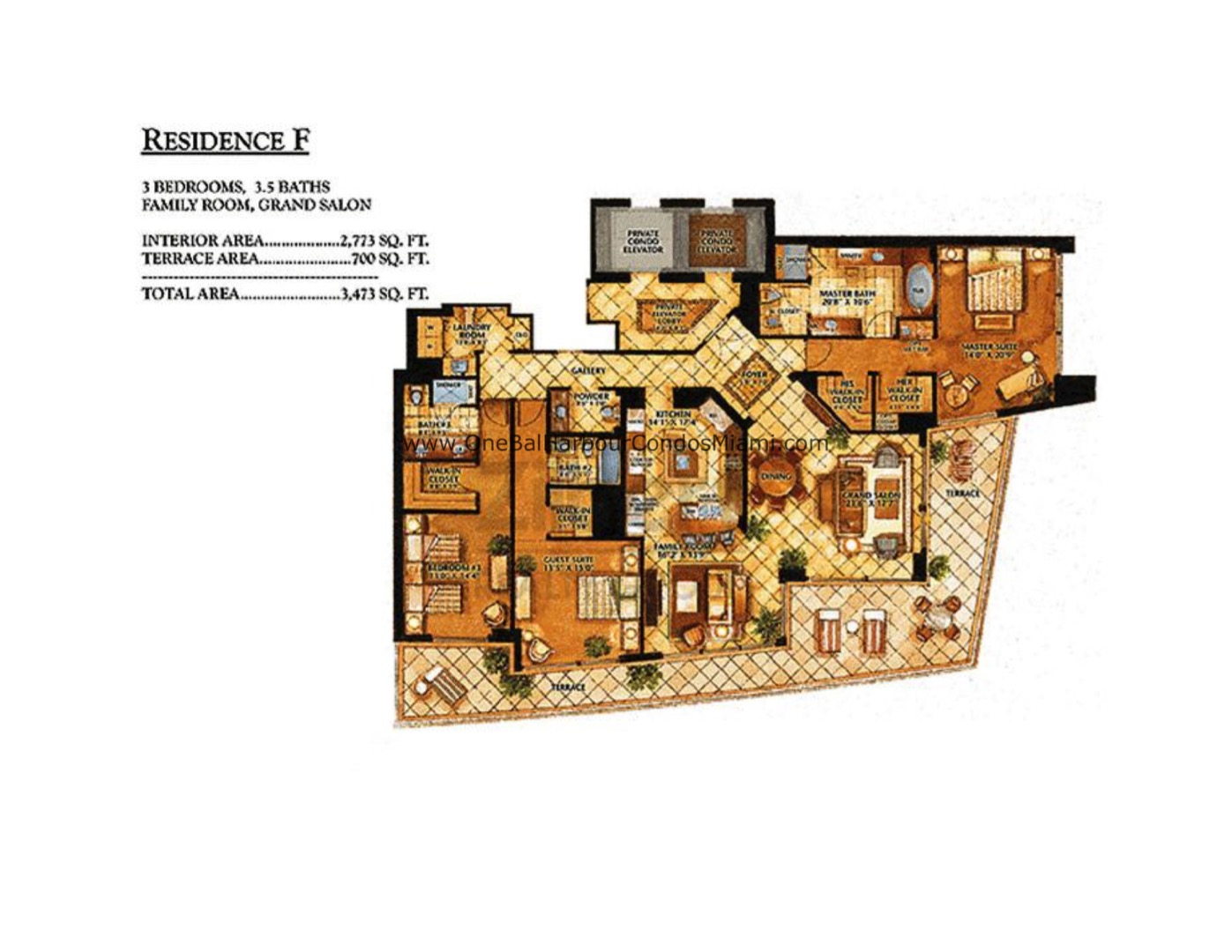 Floor plan image F - 3/3/1  - 2773 sqft image