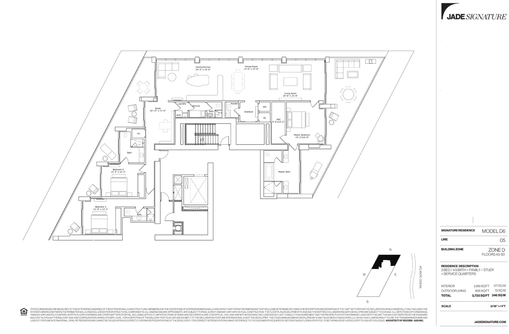Floor plan image D6 - 3/4.5/FamilyRoom/Study/ServiceQuarters  - 2919 sqft image