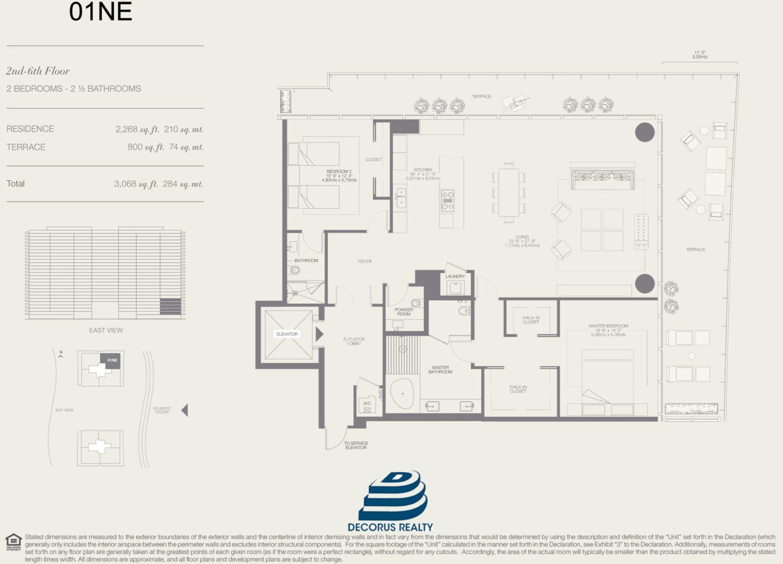 Floor plan image 01NE - 2/2.5  - 2268 sqft image