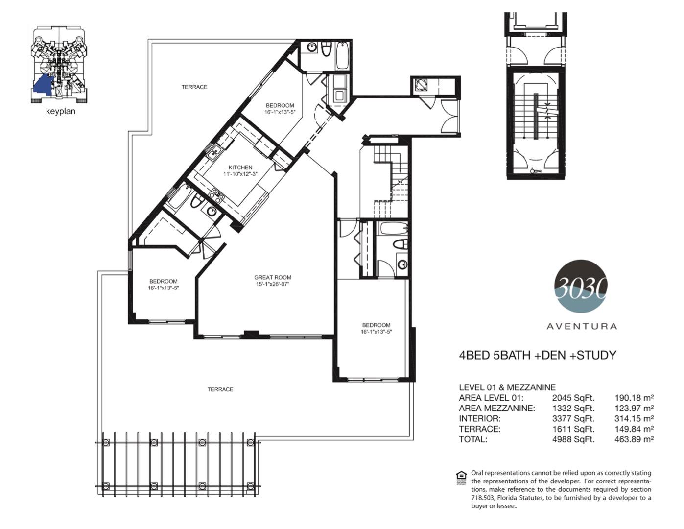 Floor plan image 12 - 4 + Den + Study / 5  - 4988 sqft image