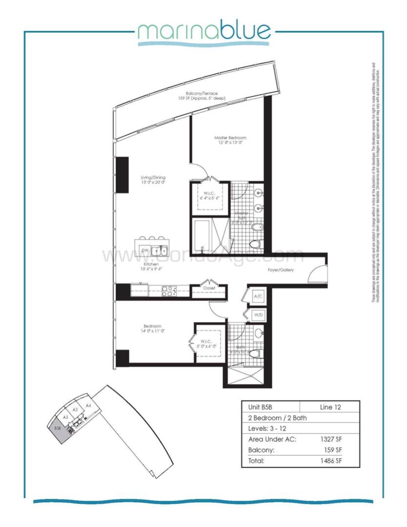 Floor plan image B5B - 2/2  - 1327 sqft image
