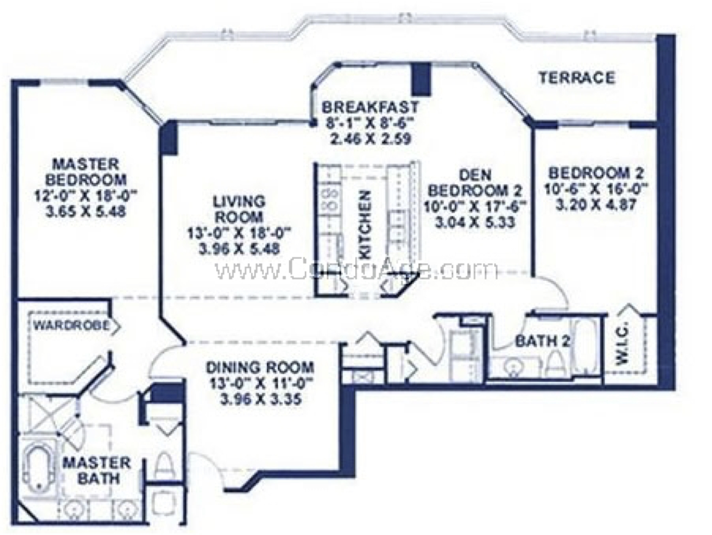 Floor plan image A - 2/2/Den  - 1696 sqft image