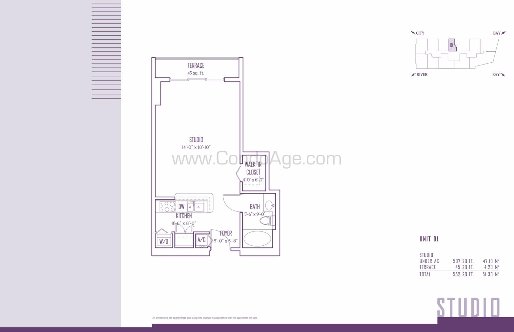 Floor plan image D1 - Studio  - 507 sqft image