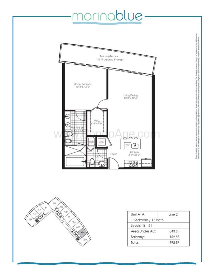Floor plan image A1A - 1/1/1  - 843 sqft image