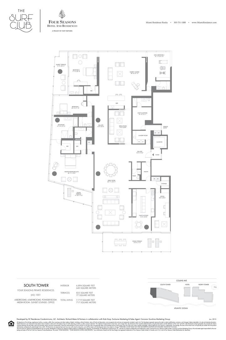 Floor plan image A5 - 4/6/POWDER ROOM/MEDIA ROOM/SUNSET LOUNGE/OFFICE  - 7719 sqft image