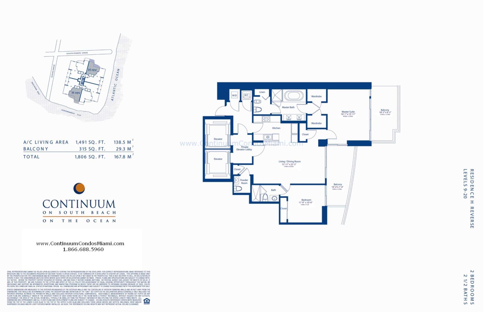 Floor plan image H-reversed-MOD - 2/2/1  - 1491 sqft image